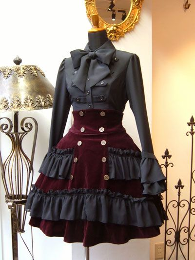 Steampunk lolita deep red wine velvet skirt with waist cincher and grey blouse with matching ruffles.