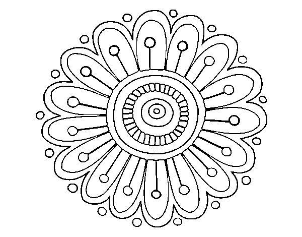 Dibujo de Mandala margarita para Pintar y Colorear en Línea