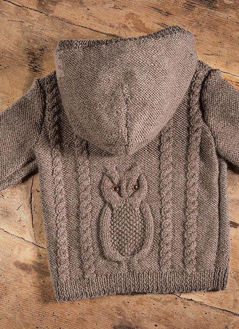 Strikkeopskrift på bluse eller cardigan med hætte. Til baby og børn - købes på strikaf.dk http://strikaf.dk/produkter-/129-boern/645-boernebluse-og-cardigan-med-ugle/