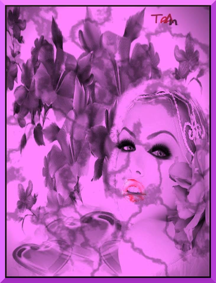 Egy szép női arc virágban