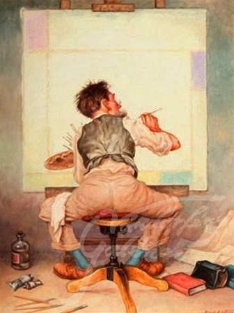 Painter's painting pointing - artist: Endre Laszlo Szasz