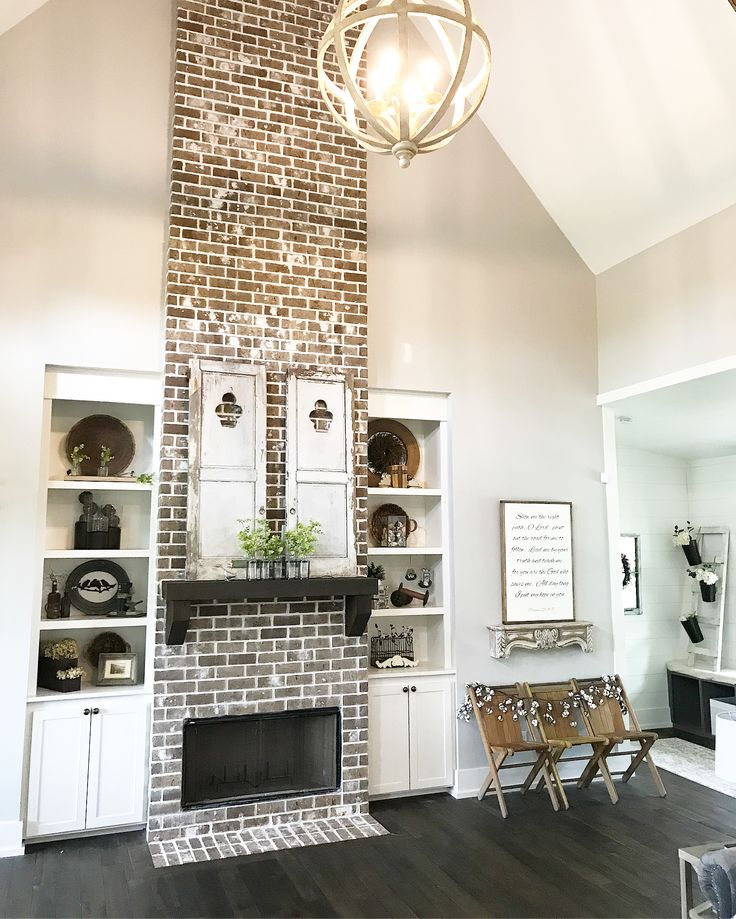 Brick fireplace, floor to ceiling fireplace, Farmhouse