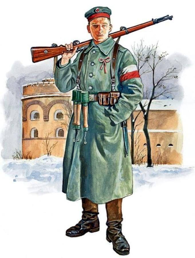 1920 c. Wielkopolska insurgente en el uniforme de la infantería alemana y el armamento alemán