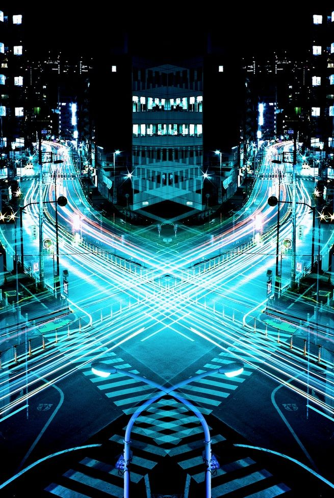 { Mirror Symmetry Long Exposures of Night time Japan } - Shinichi Hagashi'