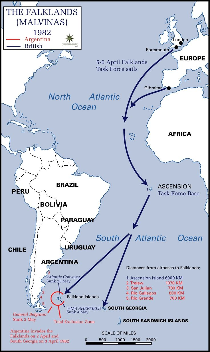 The Falklands War 1982. Argentina vs UK. Ascension Island, South Georgia as well as the Falkland Islands are still British Overseas Territories. Source: http://en.wikipedia.org/wiki/Falklands_War