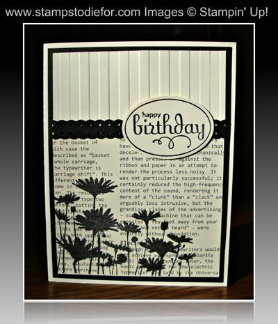 Cream and Black...so prettyCards Ideas, Daisies Stamps, Black And White, Masculine Cards, Stampin Up, Black White, Happy Birthday Cards, Upsy Daisies, Paper Crafts