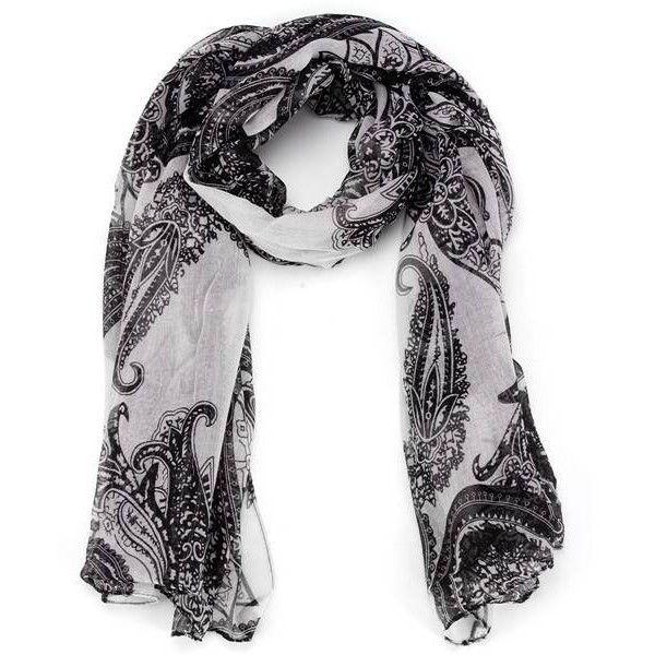 Этническая богемный стиль Черный Белый печати Пейсли шали Scaves Пейсл (€3,15) ❤ liked on Polyvore featuring accessories, scarves, boho scarves, black and white shawl, paisley shawl, patterned scarves i paisley scarves