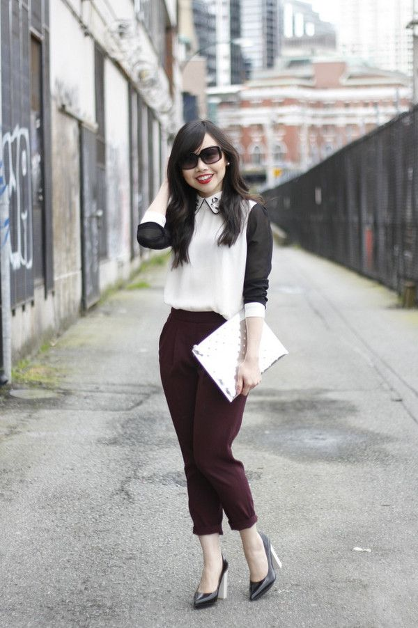 her waise choice blouse pants shoes bag sunglasses