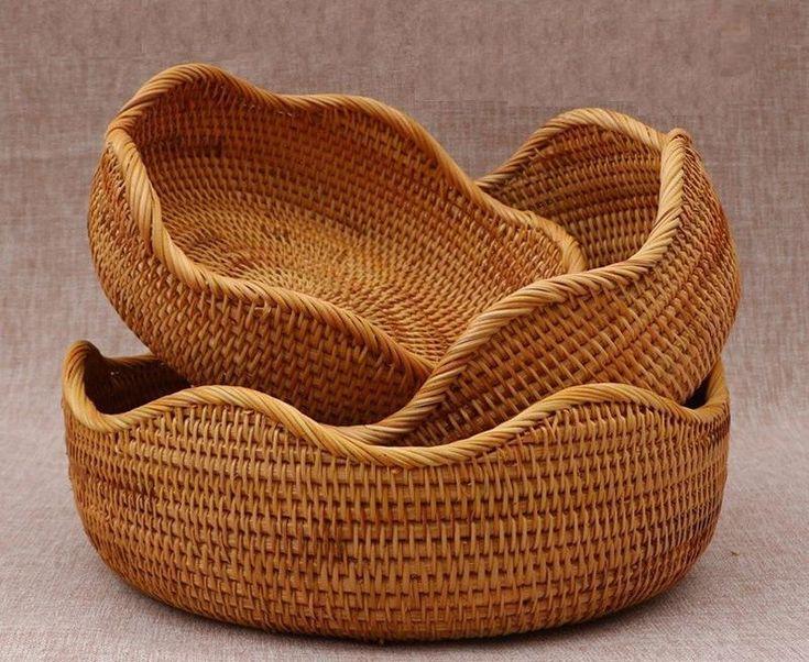 Vietnam Handmade Round Basket, Woven Basket, Natural Basket, Home Decor, Rustic Basket