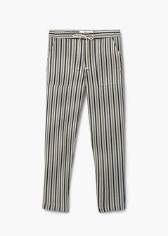 Pantalon lin à rayures