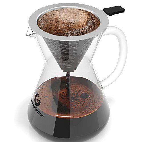 Pour Over Coffee Maker  Great Coffee Made Simple  3 Cup Hand Drip Coffee Maker With Stainless Steel Filter  No Paper Filters Needed  By Coffee Gator http://ift.tt/2jYQ6A0