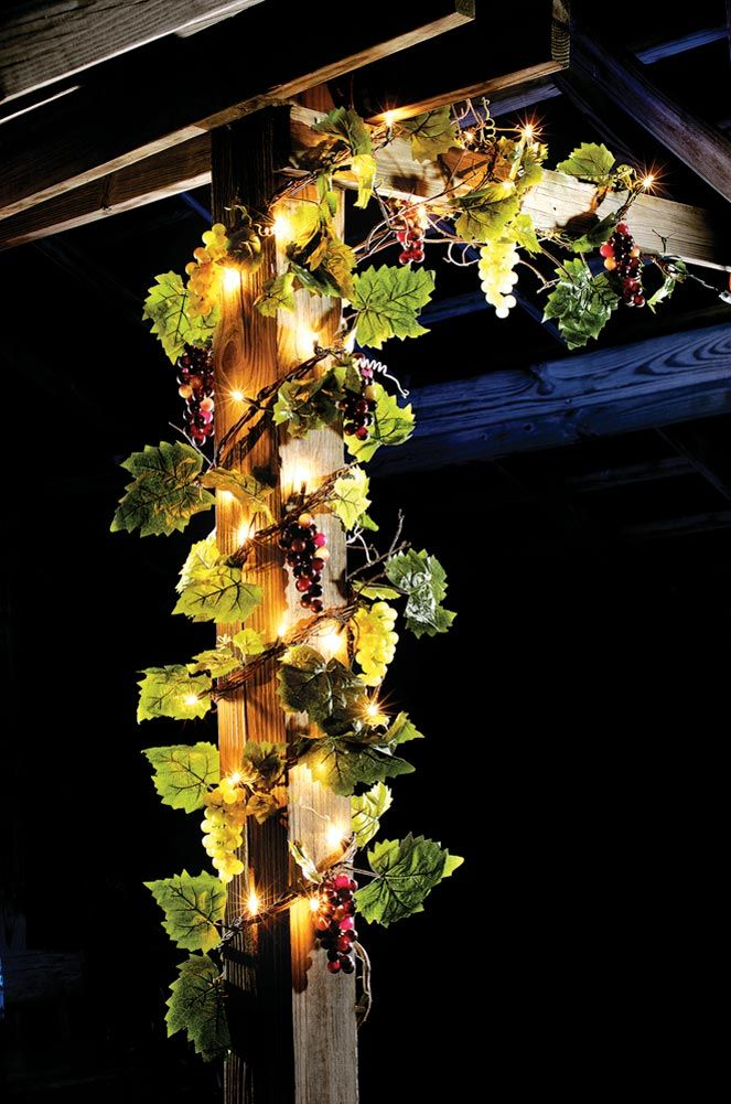 """108""""L Lighted Grapevine with Grapes & Leaves Twig Garland"""