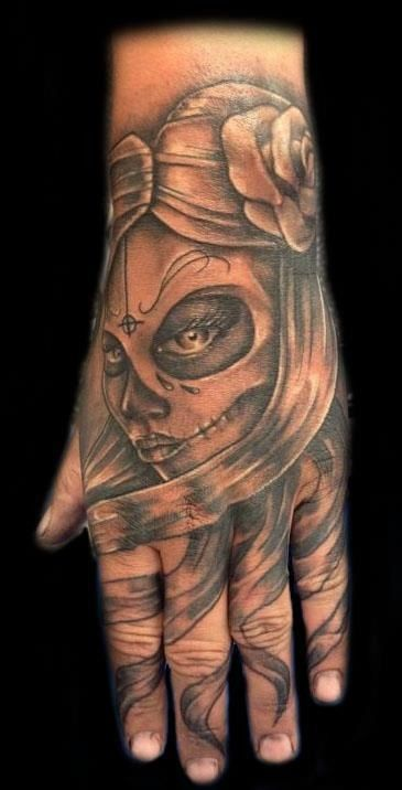 Day Of The Dead Hand Tattoo: Hand Tattoo. Day Of The Dead