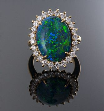 Tiffany & Co. Black Opal and Diamond Ring