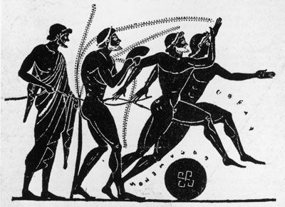 The first Olympics ( which may have begun as far back as the 9th century B.C.) 3,000 years ago evolved out of a religious festival honoring Zeus. The idea behind the Olympics was twofold: to exhibit the talents and development of young citizens and to bring Greeks together in a friendly, diplomatic setting   ( sort of like an ancient United Nations Summit ).