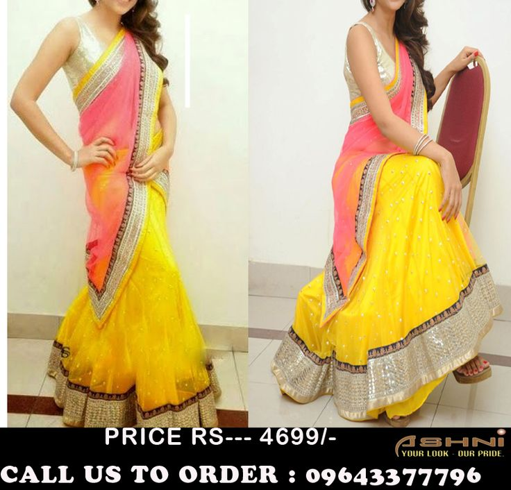 BUY Now   Rs: 4699/- FREE Shipping ! COD Call Us @ 9643377796  Item Code # TAN4 Yellow Lehanga & Pink Duppatta with Silver plain Blouse