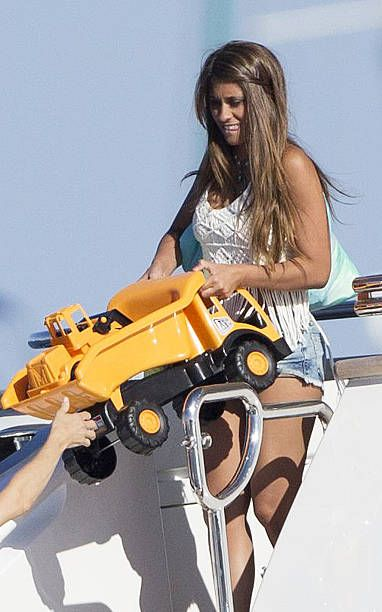 Barcelona football player Lionel Messi's wife Antonella Rocuzzo is seen on July 16 2016 in Ibiza Spain