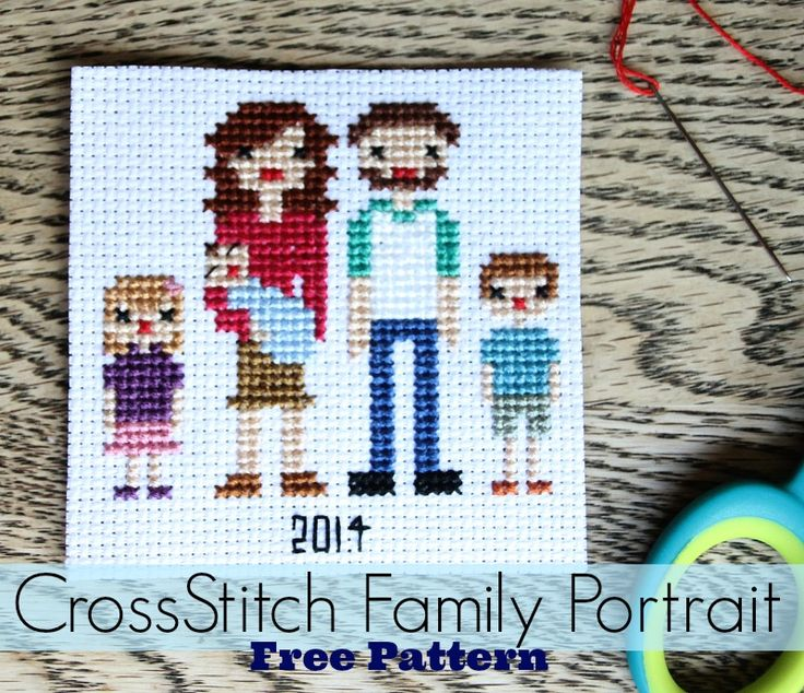 Cross Stitch Family Portrait--->>>Lots of helpful patterns so that you can stitch up your own family!  Adorable!