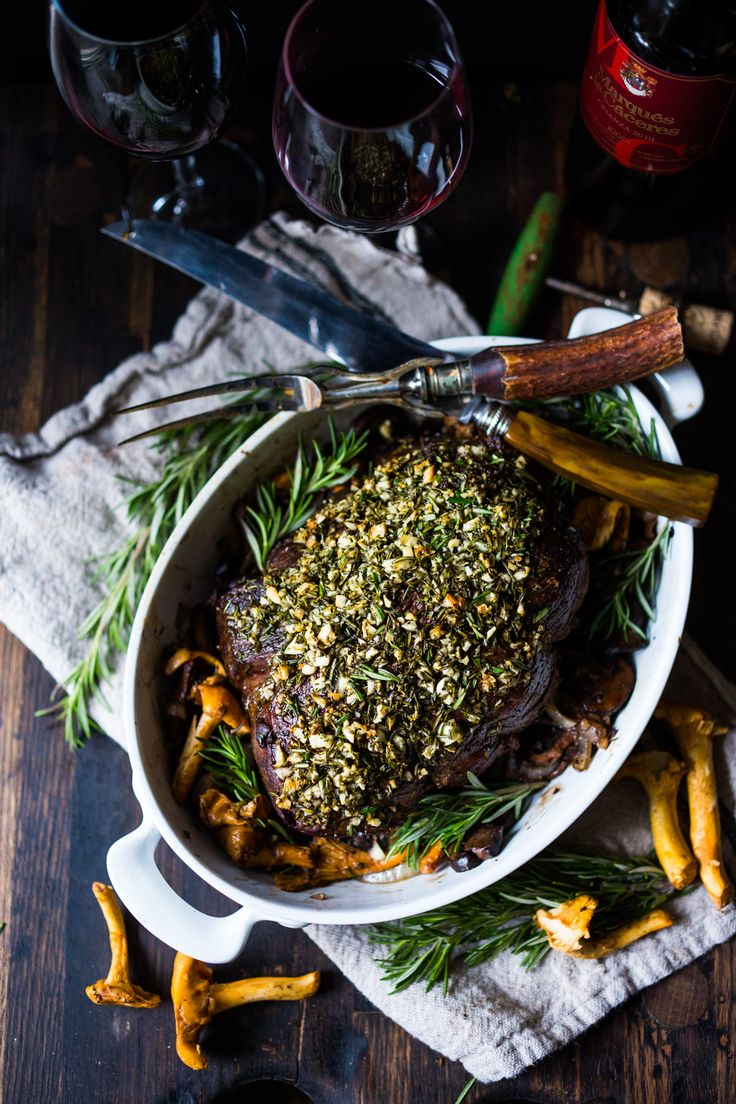 This simple recipe for Rosemary Garlic Beef Roast with Wild Mushrooms is perfect for the holidays and can be made with beef tenderloin, tri-tip loin or ribeye roast