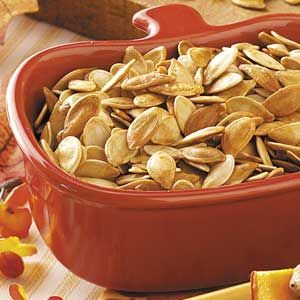 Roasted Pumpkin Seeds Recipe from Taste of Home -- shared by Dawn Fagerstrom of Warren, Minnesota