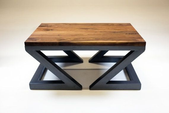 Industrial coffee table, solid walnut and steel, handmade The base and top are custom made. 4 feet long, 33 inches wide, 22 inches high, the top