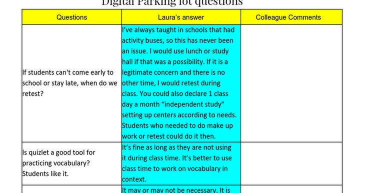 www.tinyurl.com/tflasi16doc   Digital Parking lot questions Questions Laura's answer Colleague Comments If students can't come early to school or stay late, when do we retest? I've always taught in schools that had activity buses, so this has never been an issue. I would use lunch or stud...