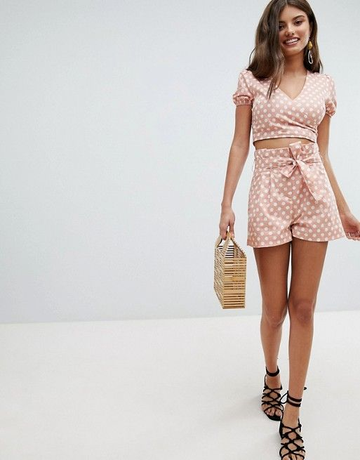 fd5ee68566 Missguided Polka Dot Tie Waist Shorts | Just cute | Tie waist shorts ...