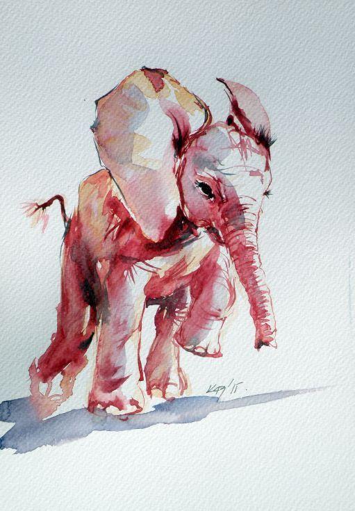 'Elephant baby,2015' by Kovács Anna Brigitta.  Original (unframed) watercolour painting on high quality watercolour paper. Artfinder £41.61