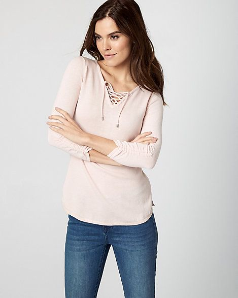 Cotton Lace-Up Sweater - A lace-up neckline and shirred sleeves add a touch of style to this relaxed cotton sweater.