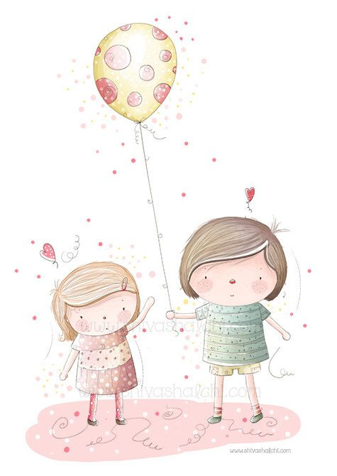 Children Illustration - Brother And Sister, Friends Love Playing