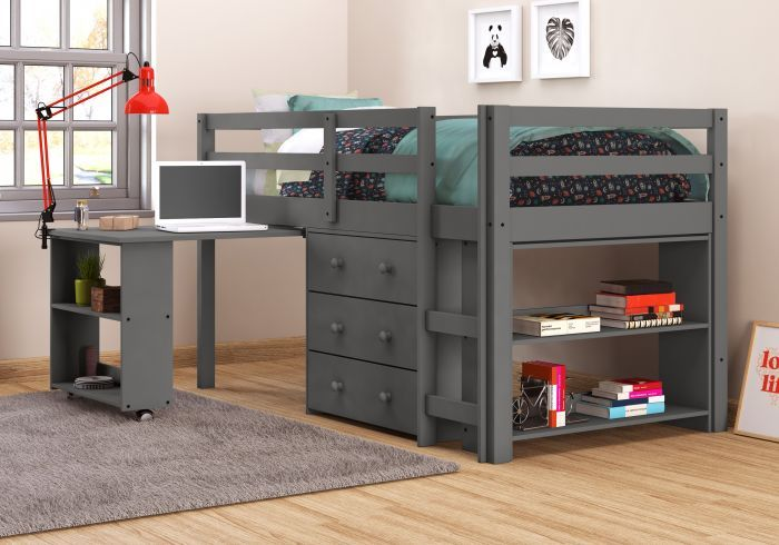 Donco 760TDG Dark Grey Twin Low Loft Bed with Desk Chest Bookcase