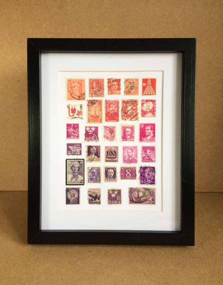 Vintage Framed Stamp Wall Art - Ombre Purple Pink by Bettyandbetts on Etsy