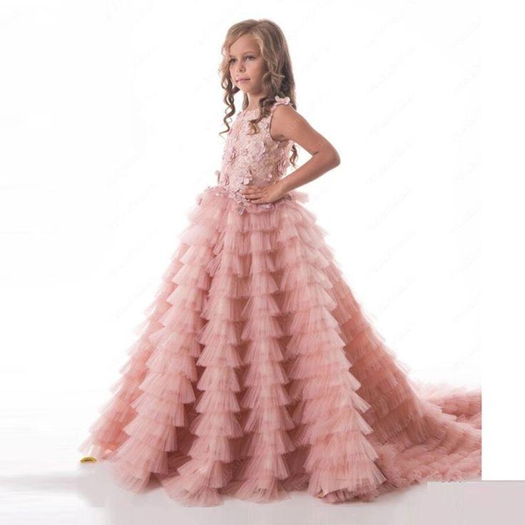 Pas cher Fleur Fille Robes Tutu Blush Rose À Volants Perles Perles Enfants  Robes De Soirée robe de Bal Filles Première Communion Robes Pour Filles,