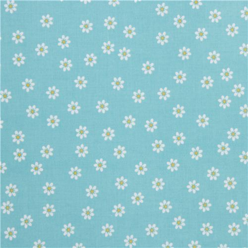 blue Riley Blake daisy laminate fabric from the USA