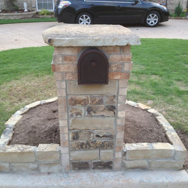 Custom rock and brick mailbox with a flagstone top. By AllTerrain Landscaping & Design, LLC in Mustang, OK.                                                                                                                                                                                 More