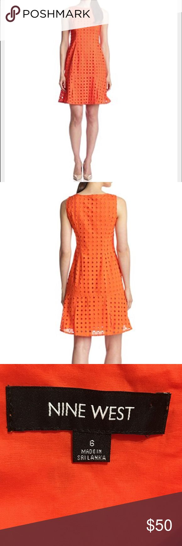 Nine West Orange Eyelet Shift Sleeveless Dress New With Tags Nine West Orange Eyelet Dress Size 6.  MSRP $98. Nine West Dresses Mini