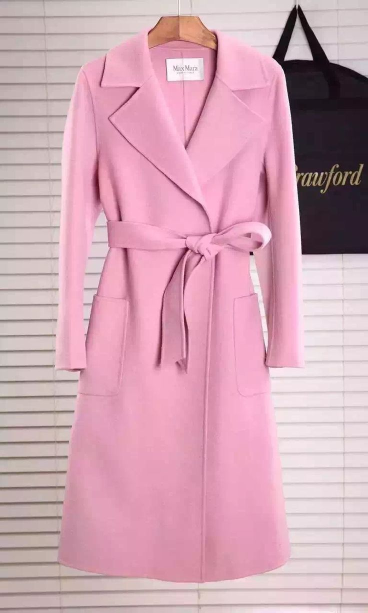 Max Mara Women's Saul Doppio Long Wrap Wool Cashmere Coat Fall/Winter 2015 Collection, Light Pink - Shop Ms Fashion Junkie