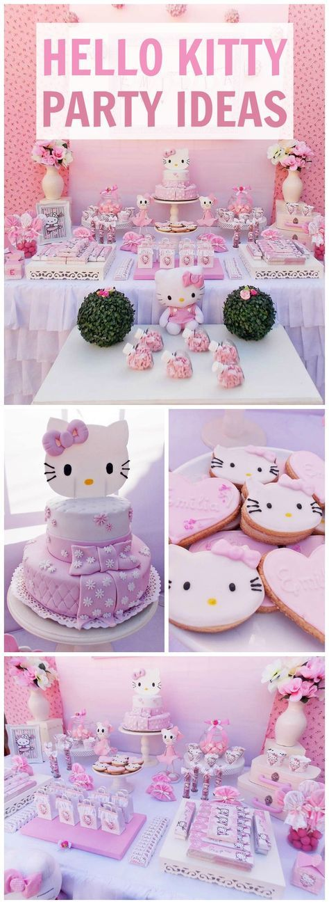 What a pretty, pink Hello Kitty birthday party! See more party ideas at CatchMyParty.com!