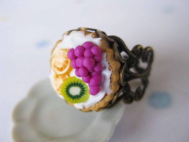 Fruit Tart Ring _ 1/12 Dollhouse Scale Miniature Food _ Polymer Clay _ Foodie Gift _ Tart Collection by MarisAlley on Etsy