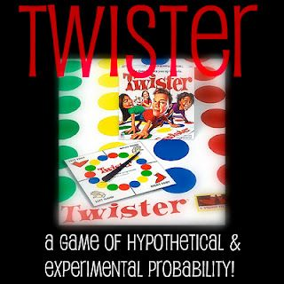 Twister Probability Activity. Great activity to engage students in probability and see how theoretical probability works out in real life. I would use this as a sort of hook for the beginning of a unit on probability.