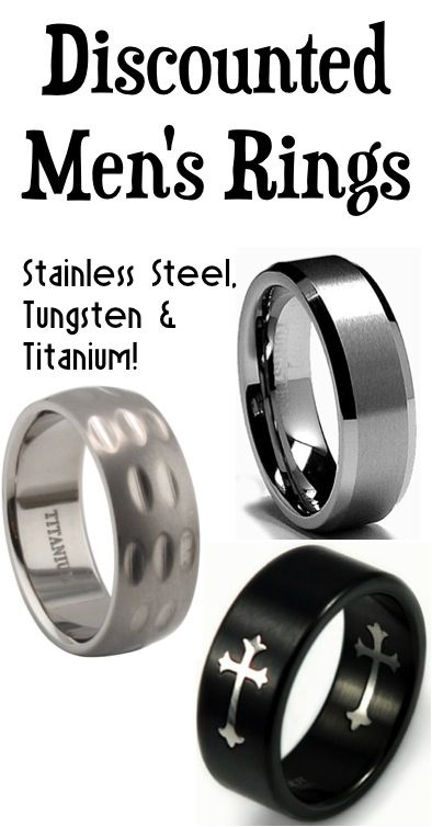 Discounted Men's Rings ~ Stainless Steel, Tungsten, or Titanium! Need to remember this for the next time Guy loses his ring.