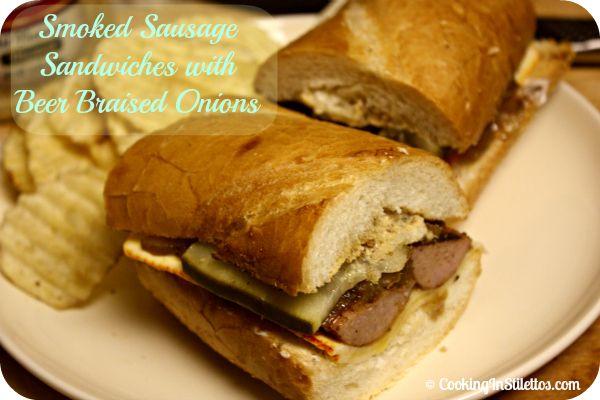 Smoked Sausage Sandwich with Beer Braised Onions    http://cookinginstilettos.com/emerils-smoked-sausage-with-beer-braised-onions-is-a-serioussandwich/
