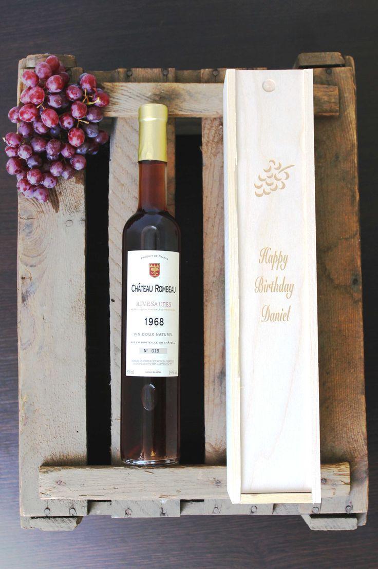 Edele Rivesaltes-Jahrgangswein in Holzkiste mit Gravur. Top-Wein aus ...