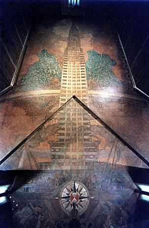 top of Chrysler  building from inside | Ceiling mural in building lobby that was restored in 1999