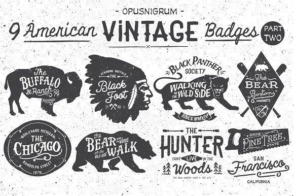 American Vintage Badges Part.2 by OpusNigrum on @creativemarket