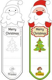 Christmas Bookmarks color and coloring, free, printable