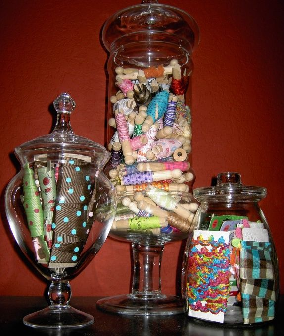 craft room idea glass jars filled with craft items this