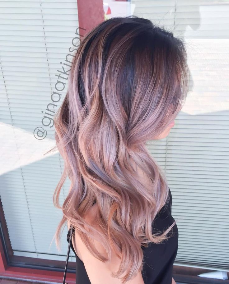 Rose Gold Balayage Blonde Hair