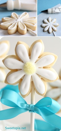 How to make daisy cookie pops (Sweetopia). So cute and perfect for spring.