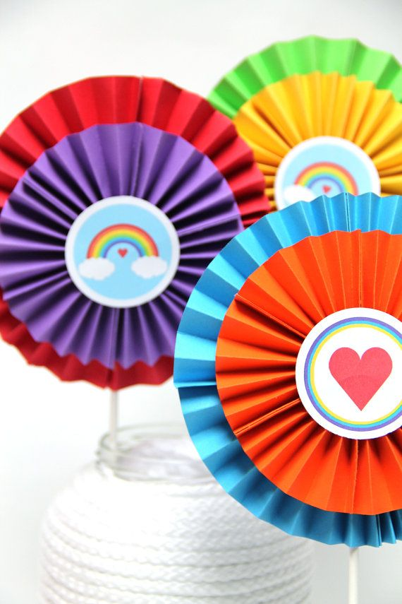 Rainbow Love  Set of 3 Rosette Table Centerpieces by TaffieWishes